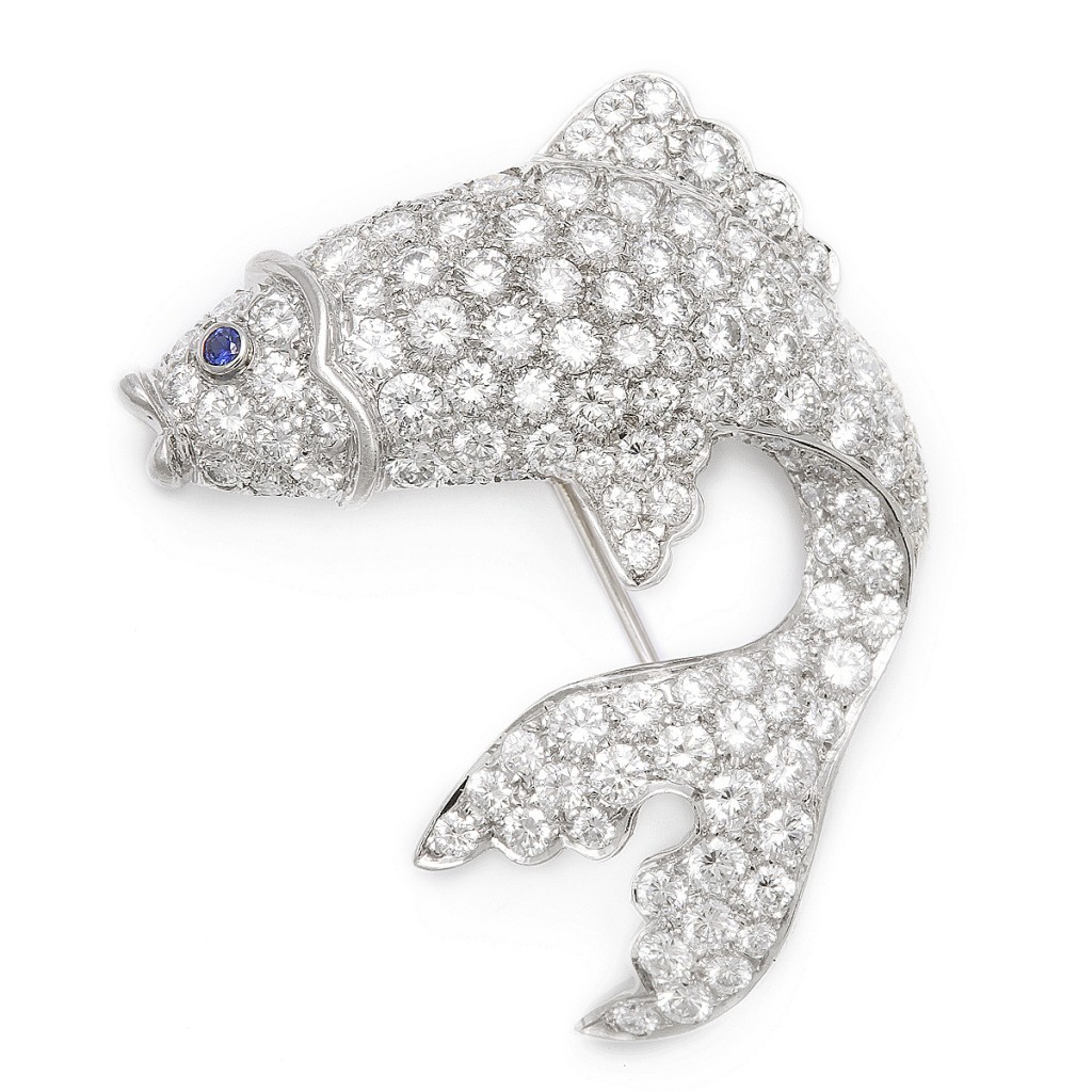 Antique Diamond Angel Fish Brooch