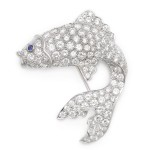Antique Diamond Angel Fish Brooch