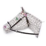 1920s Diamond Horse Head Brooch