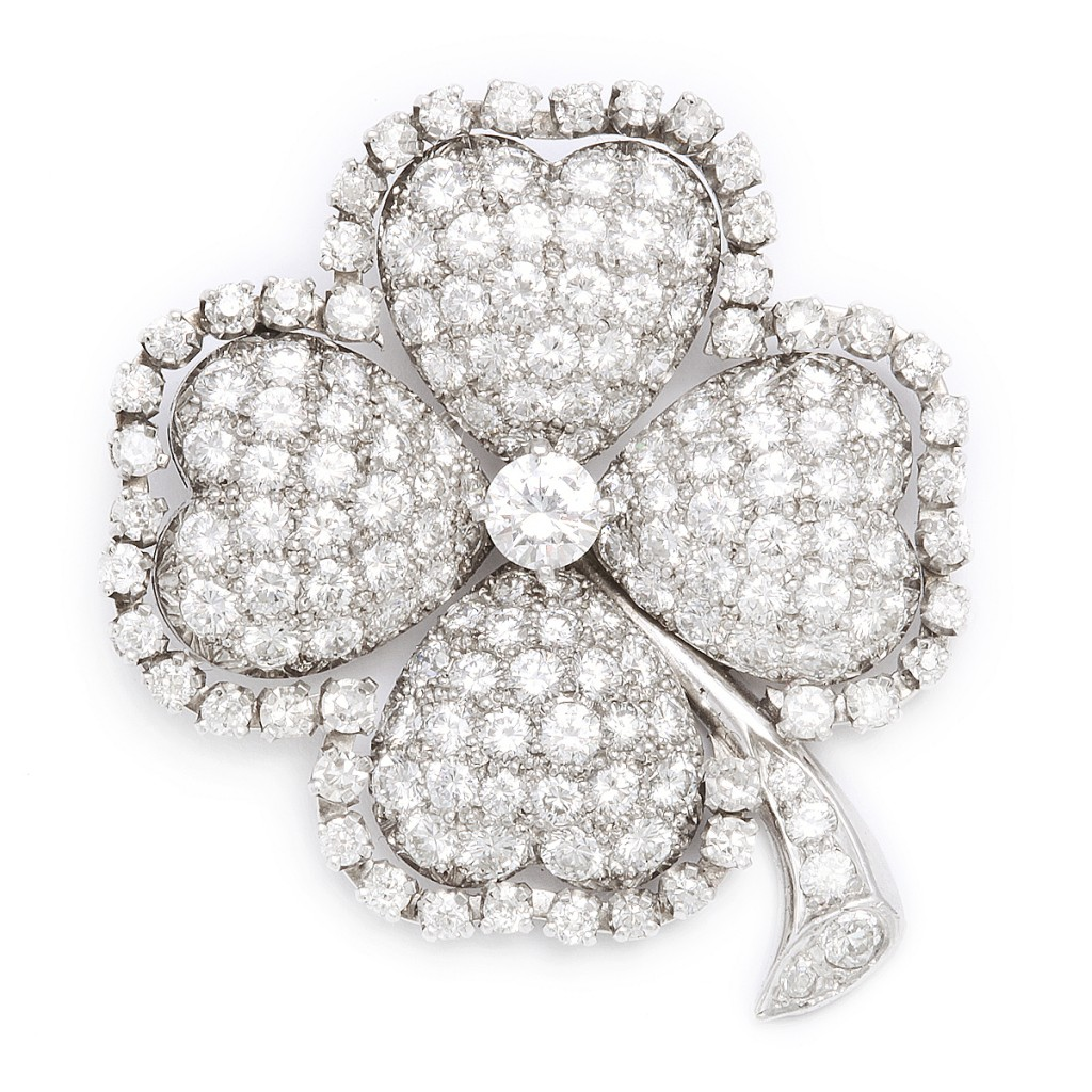 1920s Diamond Four-Leaf Clover Brooch