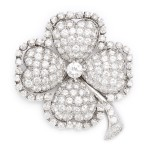 1920s Diamond Four-Leaf Clover Brooch