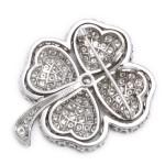 1920s Diamond Four-Leaf Clover Brooch, back