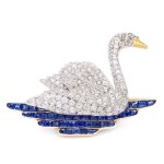 1920s Diamond Swan Brooch