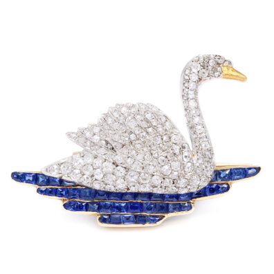 1920s Diamond Swan Brooch