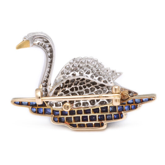 1920s Diamond Swan Brooch, back