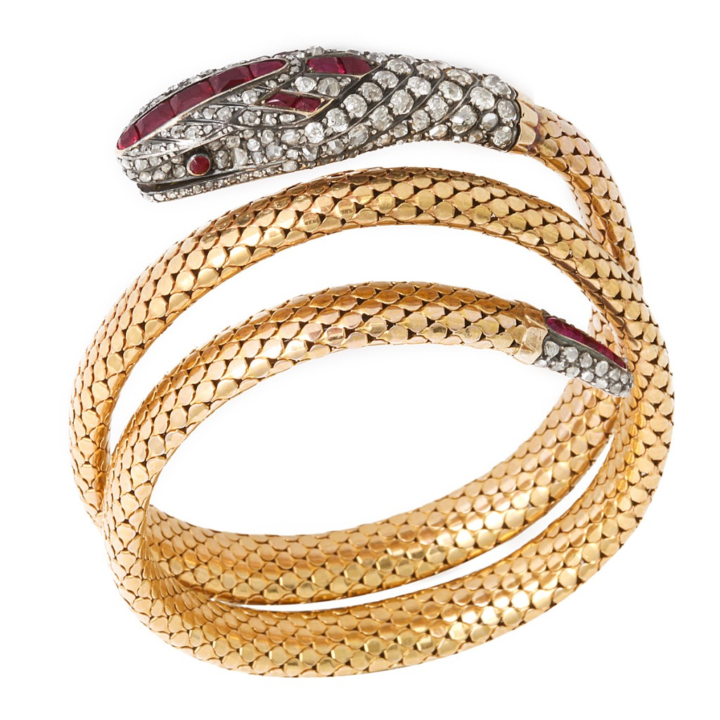 Victorian Old-Mine Diamond and Ruby Coiled Snake Bracelet