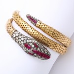 Victorian Old-Mine Diamond and Ruby Coiled Snake Bracelet, arm