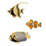 Contemporary Gold and Enamel Fish Brooches