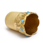 Antique Gold and Turquoise Thimble, interior