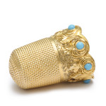 Antique Gold and Turquoise Thimble, side