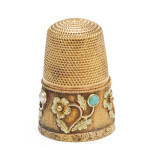 Gold and Turquoise Floral Thimble