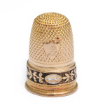 Antique French Gold and Enamel Thimble