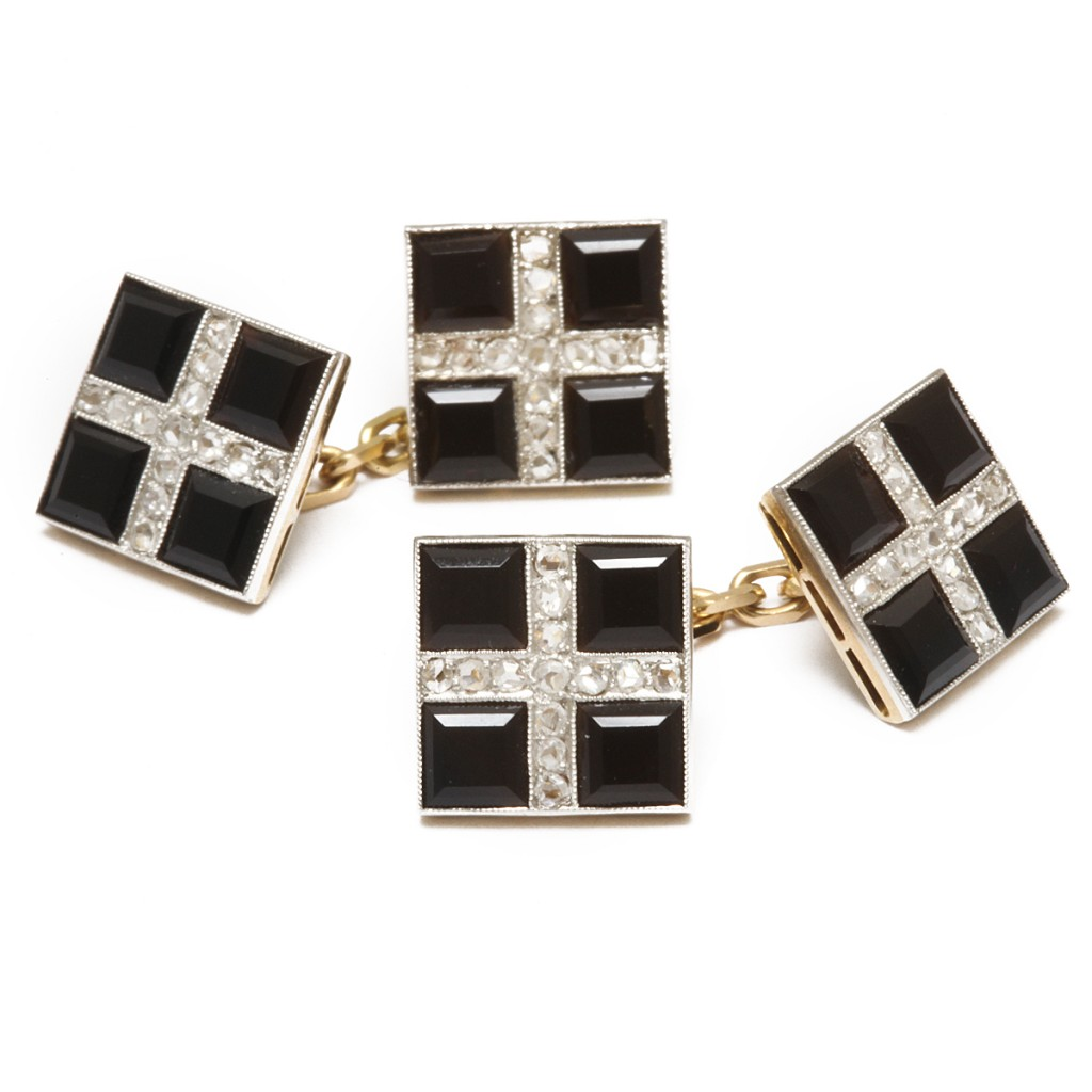 Antique Onyx and Diamond Cufflinks