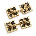 Antique Onyx and Diamond Cufflinks, back