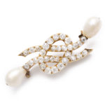 main view, Antique Natural Pearl and Diamond Love Knot Brooch