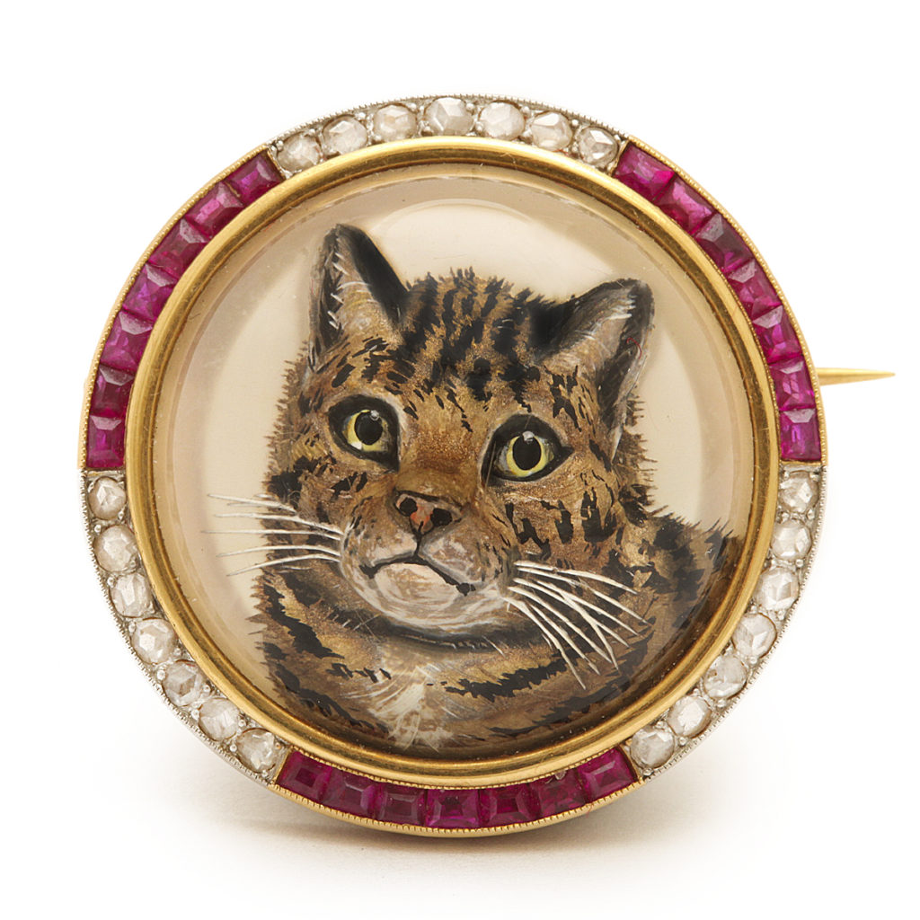 main view, Antique Reverse Crystal Cat Brooch