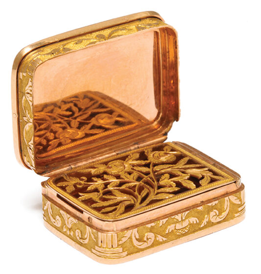 open, Antique Tiny Gold and Micromosaic Vinaigrette
