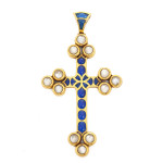 Renaissance Revival Gold, Enamel and Moonstone Cross
