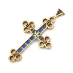 Renaissance Revival Gold, Enamel and Moonstone Cross, back