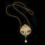 with chain, Art Nouveau Gold and Opal Pendant by Georges Fouquet