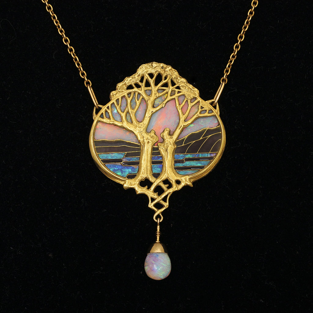 main view, Art Nouveau Gold and Opal Pendant by Georges Fouquet