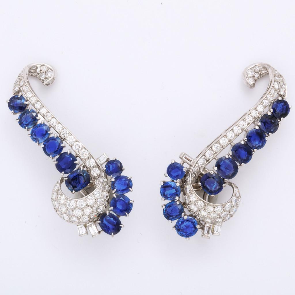 1930s Sapphire and Diamond Ear Climber Earrings