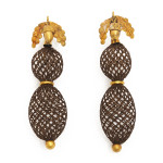 Victorian Gold and Woven Hair Pendant Earrings