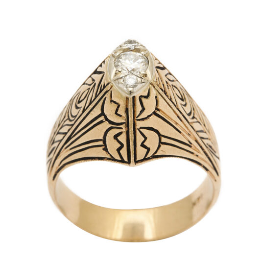 main view, Antique Gold and Enamel Arts and Crafts Style Ring