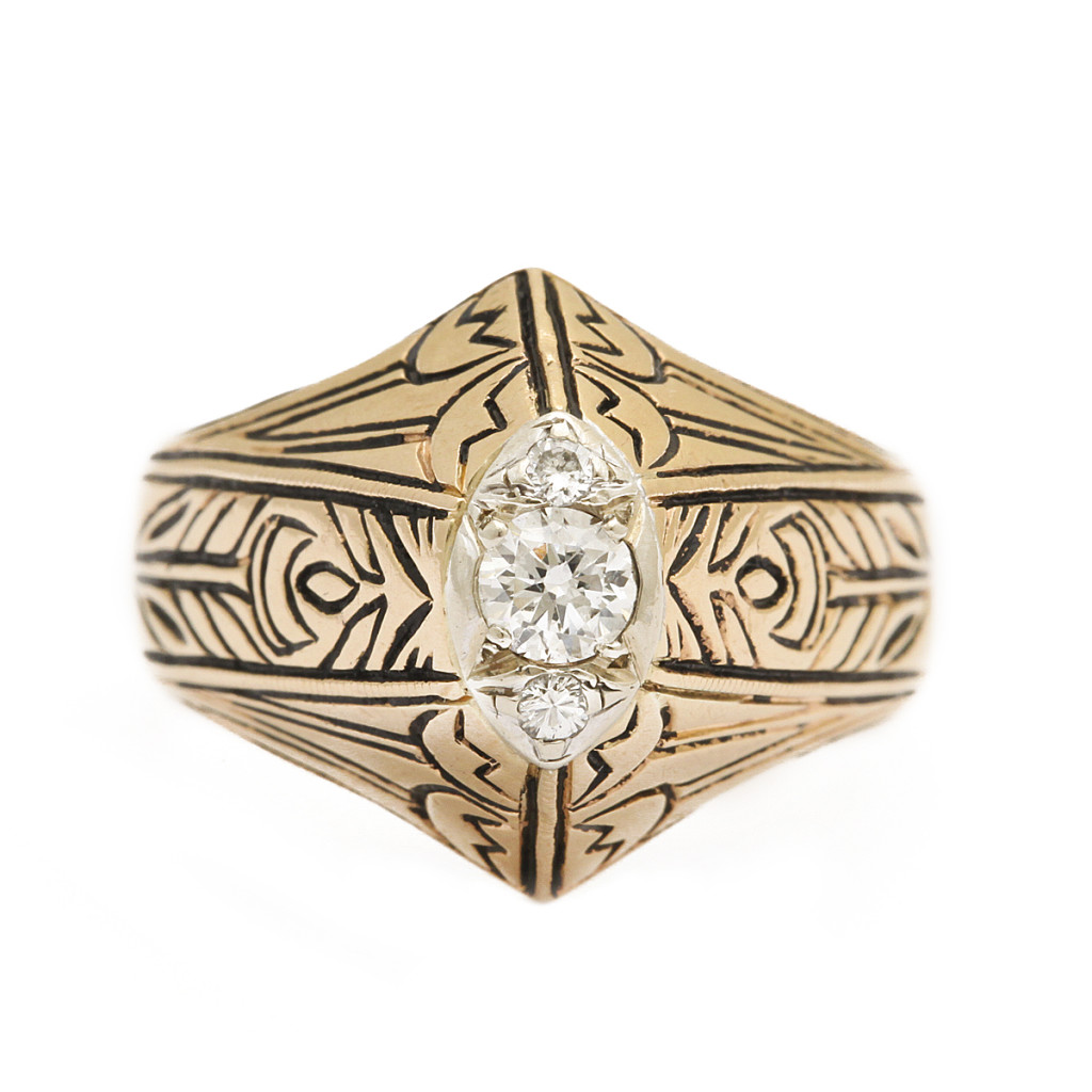 top view, Antique Gold and Enamel Arts and Crafts Style Ring