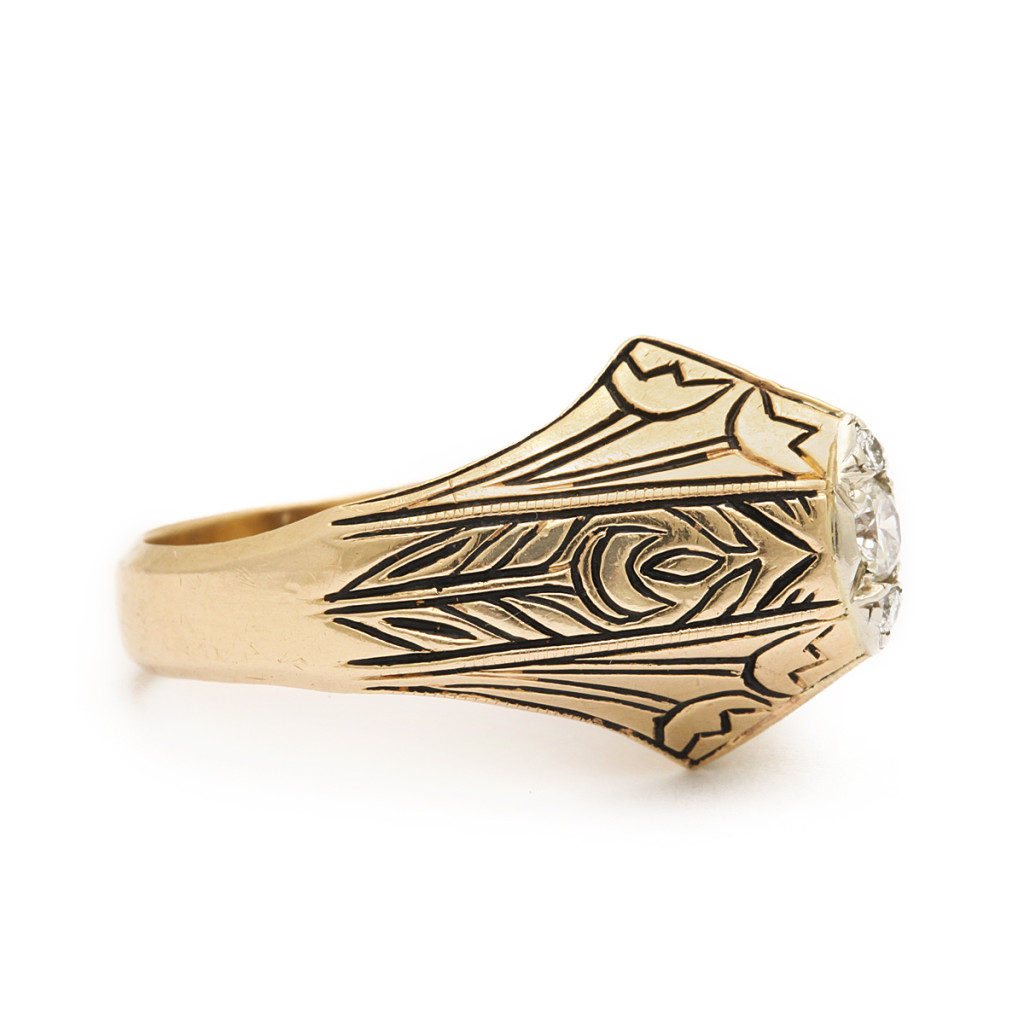 additional side view, Antique Gold and Enamel Arts and Crafts Style Ring