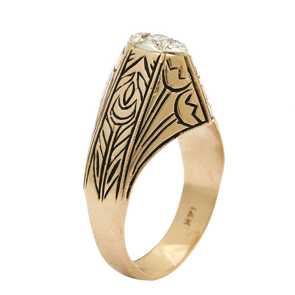 side view, Antique Gold and Enamel Arts and Crafts Style Ring