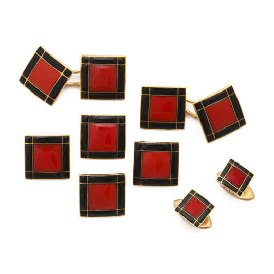main view, Art Deco Cufflink and Stud Set by Van Cleef & Arpels