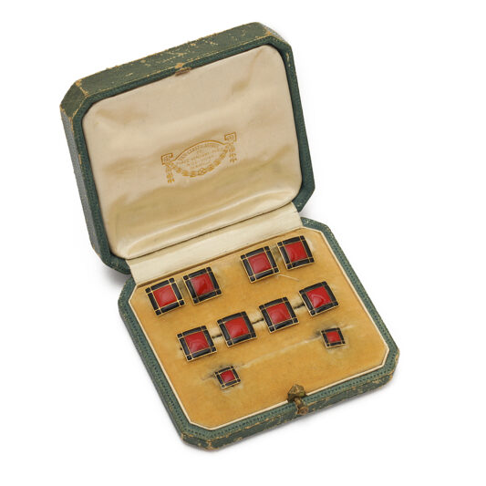 box, Art Deco Cufflink and Stud Set by Van Cleef & Arpels
