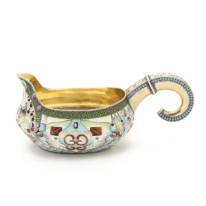Enamel and Gilded Silver Kovsh