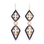 main view, Victorian Diamond and Enamel Pendant Earrings