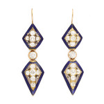 Victorian Diamond and Enamel Pendant Earrings