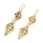 Victorian Diamond and Enamel Pendant Earrings, back
