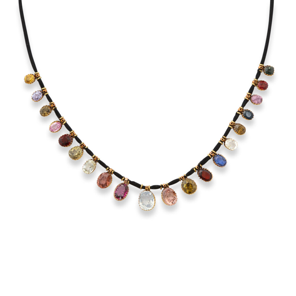 main view, Victorian Multi-gem Drop Necklace