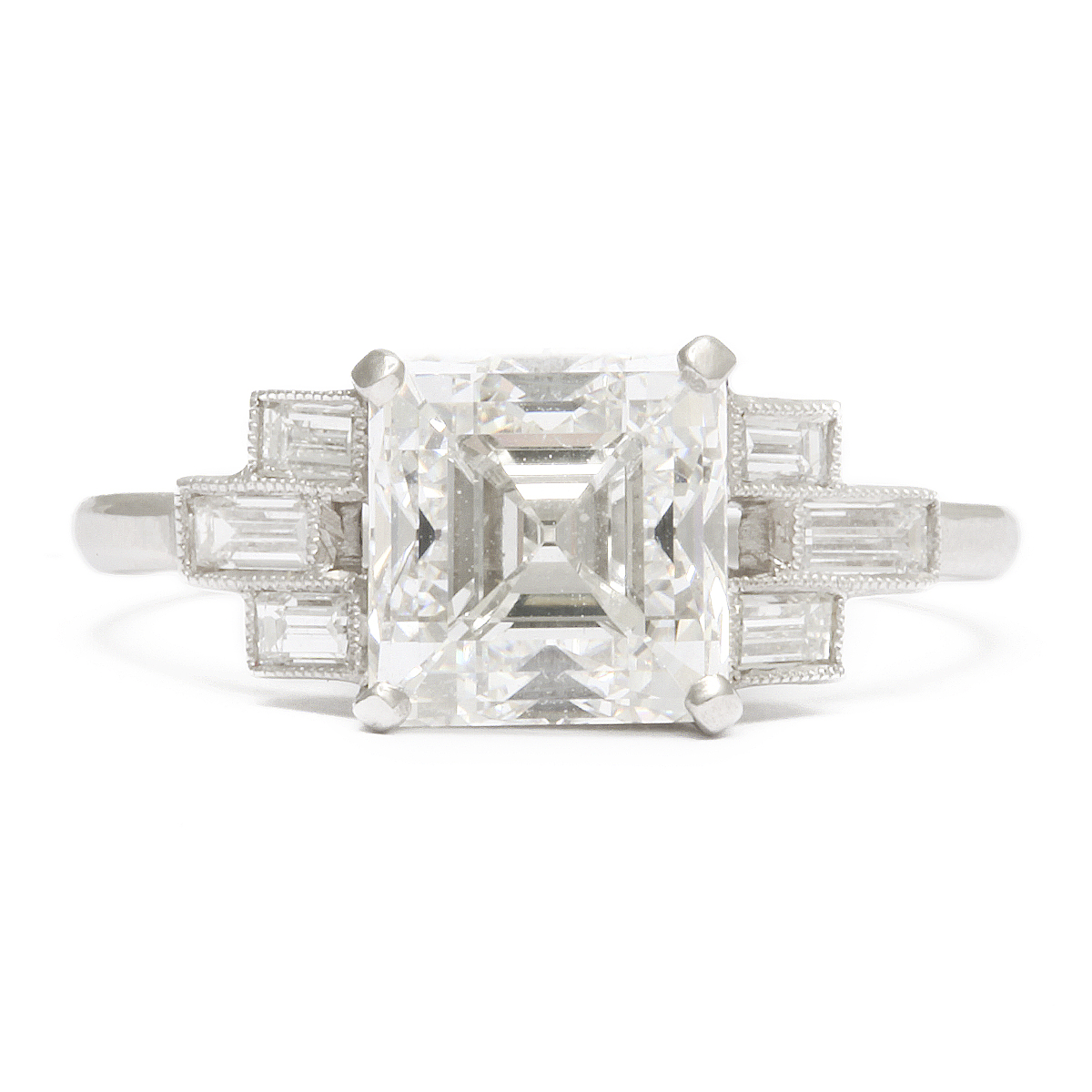 Art Deco Asscher Cut Diamond Engagement Ring A La Vieille Russie Faberge Antique Jewelry Russian Art Antiques Gold Snuffbox Dealers Alvr Ny