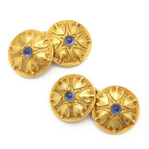 Antique Sapphire and Gold Cufflinks