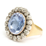 main view, Georgian Sapphire and Old Mine Diamond Cluster Ring