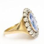 Georgian Sapphire and Old Mine Diamond Cluster Ring