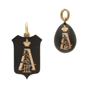 Faberge gunmetal and gold pendants