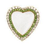 Victorian Rock Crystal, Demantoid, and Diamond Puffy Heart Pendant