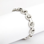 1930s Machine Aesthetic Diamond and Platinum Bracelet