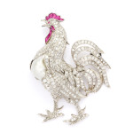 1920s Diamond, Ruby and Baroque Pearl Rooster Brooch