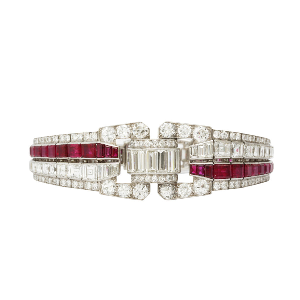 main view, Art Deco Ruby and Diamond Bracelet by Drayson