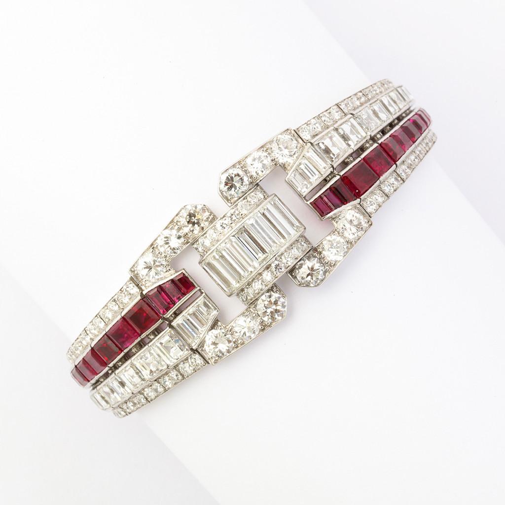 Art Deco Ruby and Diamond Bracelet by Drayson
