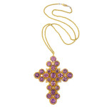 Georgian Amethyst and Gold Cross Pendant