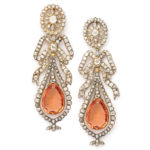 main view, Victorian Imperial Topaz and Diamond Earrings